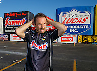 Feb 12, 2017; Pomona, CA, USA; NHRA pro stock driver Greg Anderson reacts during the Winternationals at Auto Club Raceway at Pomona. Mandatory Credit: Mark J. Rebilas-USA TODAY Sports