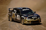 Driver Tanner Foust and co-driver Scott Crouch come around a turn near the finish line while competing in the Rally Car Race finals during X-Games 12 in Los Angeles, California on August 5, 2006.