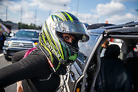 Sep 16, 2016; Concord, NC, USA; NHRA funny car driver Alexis DeJoria during qualifying for the Carolina Nationals at zMax Dragway. Mandatory Credit: Mark J. Rebilas-USA TODAY Sports