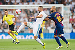 Karim Benzema (l) of Real Madrid fights for the ball with Javier Alejandro Mascherano of FC Barcelona during their Supercopa de Espana Final 2nd Leg match between Real Madrid and FC Barcelona at the Estadio Santiago Bernabeu on 16 August 2017 in Madrid, Spain. Photo by Diego Gonzalez Souto / Power Sport Images