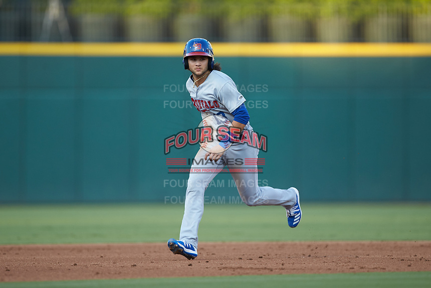 Bo Bichette (13) of the Buffalo Bisons hustles towards third base against the Charlotte Knights at BB&T BallPark on July 24, 2019 in Charlotte, North Carolina. The Bisons defeated the Knights 8-4. (Brian Westerholt/Four Seam Images)