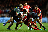 Jamie George of Saracens is tackled by Marcus Smith and Renaldo Bothma of Harlequins. Gallagher Premiership match, between Harlequins and Saracens on October 6, 2018 at the Twickenham Stoop in London, England. Photo by: Patrick Khachfe / JMP