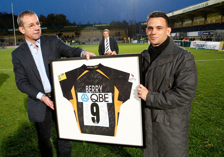 Photo: Richard Lane/Richard Lane Photography. London Wasps v London Welsh. 28/10/2012. Wasps' Mark Rigby, Nic Berry.