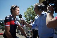 Sylvain Chavanel (FRA/IAM) interviewed before the start<br /> <br /> 2014 Tour de France<br /> stage 12: Bourg-en-Bresse - Saint-Eti&egrave;nne (185km)