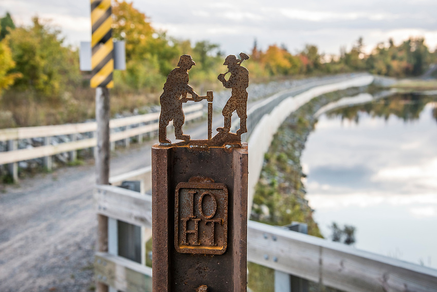 Mining themed trail signage along the Iron Ore Heritage Trail, a multiuse recreation trail connecting communities in Marquette County on Michigan's Upper Peninsula.