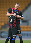 St Johnstone v Inverness Caledonian Thistle....22.02.14    SPFL<br /> Graeme Shinnie lifts goal scorer Gary Warren<br /> Picture by Graeme Hart.<br /> Copyright Perthshire Picture Agency<br /> Tel: 01738 623350  Mobile: 07990 594431