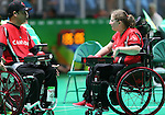 Rio de Janeiro-10/9/2016-Alison Levine and Marco Dispaltro competes in the mixed bocci event against Brazil at the 2016 Paralympic Games in Rio. Photo Scott Grant/Canadian Paralympic Committee