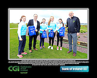 Galway Bay Golf Club Girls with PJ Kavanagh from Bank of Ireland and Justin O'Byrne from CGI.<br /> Junior golfers from across connacht practicing their skills at the regional finals of the Dubai Duty Free Irish Open Skills Challenge supported by Bank of Ireland at Galway Bay golf club, Galway, Co Galway. 2/04/2016.<br /> Picture: Golffile | Fran Caffrey<br /> <br /> <br /> All photo usage must carry mandatory copyright credit (© Golffile | Fran Caffrey)