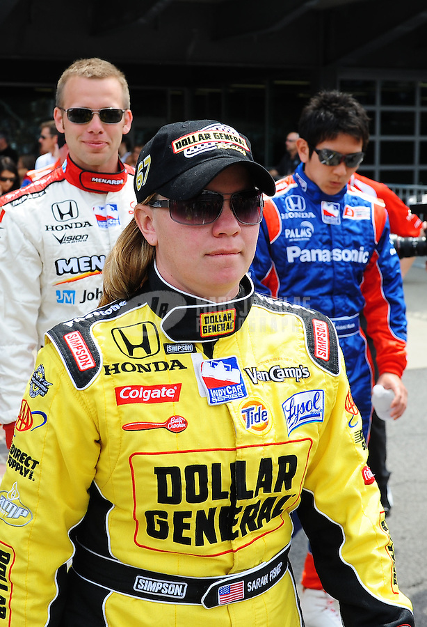 May 24, 2009; Indianapolis, IN, USA; IRL driver Sarah Fisher during the 93rd running of the Indianapolis 500 at Indianapolis Motor Speedway.  Mandatory Credit: Mark J. Rebilas-