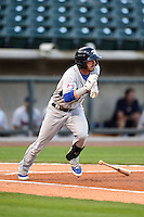 Tennessee Smokies second baseman Stephen Bruno (11) at bat during a game against the Birmingham Barons on April 22, 2014 at Regions Field in Birmingham, Alabama.  Birmingham defeated Tennessee 14-3.  (Mike Janes/Four Seam Images)