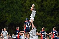 Josh Bayliss of Bath Rugby wins the ball at a lineout. Pre-season friendly match, between Bristol Rugby and Bath Rugby on August 12, 2017 at the Cribbs Causeway Ground in Bristol, England. Photo by: Patrick Khachfe / Onside Images