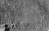 The people of the Ancient Empire...Little is known about Nefer-her-Ptah (Vth dynasty); he and his neighbor Iru-ka-Ptah were probably cousins, and he was likely a fellow servant to Ptah and his avatar, the bull god Apis who is portrayed mating on this bas relief.....TAIEB HASSABOLLAH/COLLECTION PATRICK CHAPUIS-PHILIPPE FLANDRIN