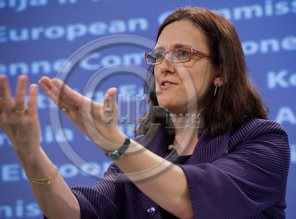 Brussels-Belgium - February 24, 2010 -- Cecilia MALMSTRÖM (Malmstrom, Malmstroem), European Commissioner from Sweden and in charge of Home Affairs, during a press conference in the HQ of the EC -- Photo: Horst Wagner / eup-images