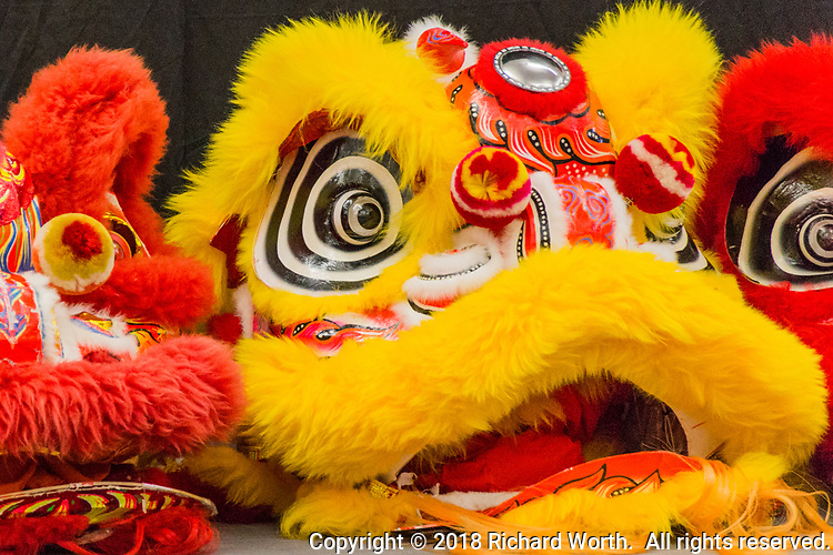 Intricate, maticulous, beautiful and scary!   The lion-head half of a Dragon costumer.  The 2018 Lunar New Year - celebrating The Year of the Dog at the San Leandro Library.  Performers included:  Vovinam San Jose, Chung Ngai Dance Troupe and EGO Korean Drummers.
