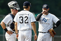 03 September 2011: Eddie Aucoin of the Vaessen Pioniers is seen during a mound visit as he pitches against L&D Amsterdam Pirates during game 1 of the 2011 Holland Series won 5-4 in inning number 14 by L&D Amsterdam Pirates over Vaessen Pioniers, in Hoofddorp, Netherlands.