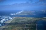 Aerial over entrance to Humboldt Bay, Eureka, Humboldt County, CALIFORNIA