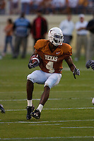 01 APRIL 2006: University of Texas wide receiver Limas Sweed changes direction while running downfield at Darrell K. Royal Memorial Stadium during the Longhorns annual spring Orange vs White Scrimmage.