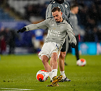 9th March 2020; King Power Stadium, Leicester, Midlands, England; English Premier League Football, Leicester City versus Aston Villa; James Maddison of Leicester City takes shooting practice before the game