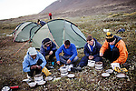 AKUREYRI, ICELAND AUGUST 2013:<br />Dangoor Next generation programme in north west Iceland, Team Bull bulding a base camp and learning how to cook using the river water and the ration food they have,after finish their second mission, Aug 2013.<br />@Giulio Di Sturco