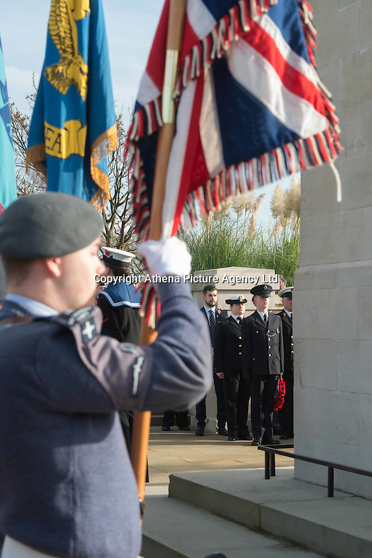 Pictured: Flags raised by young cadets at the service Friday 11 November 2016<br /> Re: Remembrance Day service at the Cenotaph in Swansea, south Wales, UK.