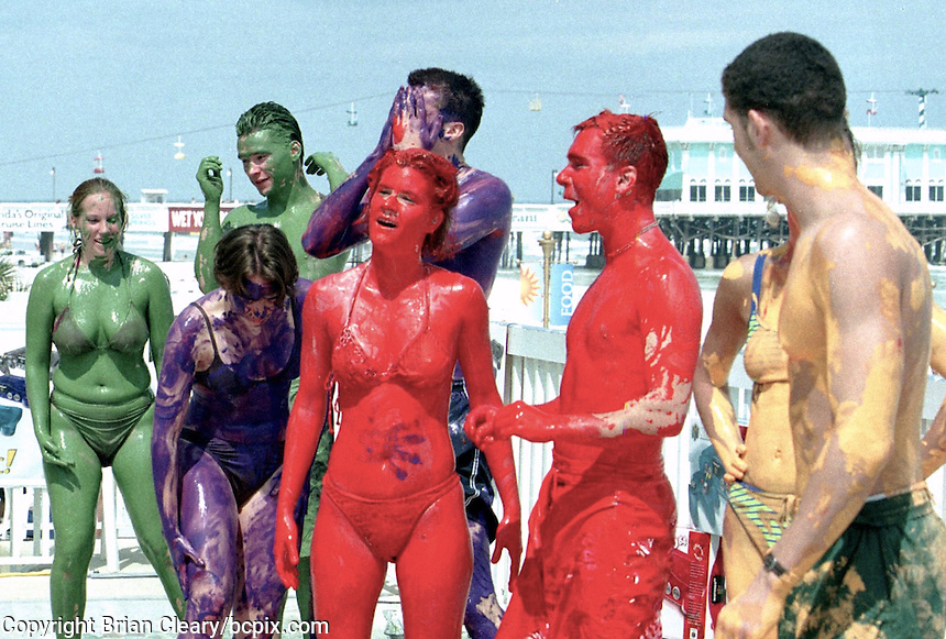 Spring Breakers compete in a body painting contest in Daytona beach, FL.  (Photo by Brian Cleary/www.bcpix.com)