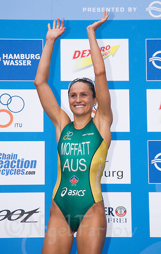 17 JUL 2011 - HAMBURG, GER - Emma Moffatt (AUS)  celebrates victory at the women's Hamburg round of triathlon's ITU World Championship Series (PHOTO (C) NIGEL FARROW)