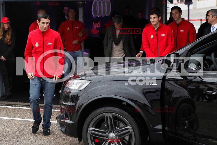 Real Madrid player Angel Di Maria participates and receives new Audi during the presentation of Real Madrid's new cars made by Audi at the Jarama racetrack on November 8, 2012 in Madrid, Spain.(ALTERPHOTOS/Harry S. Stamper) .<br />