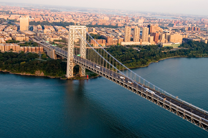 NEW YORK - AUGUST 2: Aerial view of the George Washington Bridge on  August 2, 2012 in New York City. The bridge connects the Washington Heights area of Manhattan to Fort Lee in Bergen County, New Jersey.
