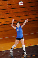 20 November 2008:  New Orleans libero Nicky Valenti (10) serves during the New Orleans 3-1 victory over UALR in the first round of the Sun Belt Conference Championship tournament at FIU Stadium in Miami, Florida.
