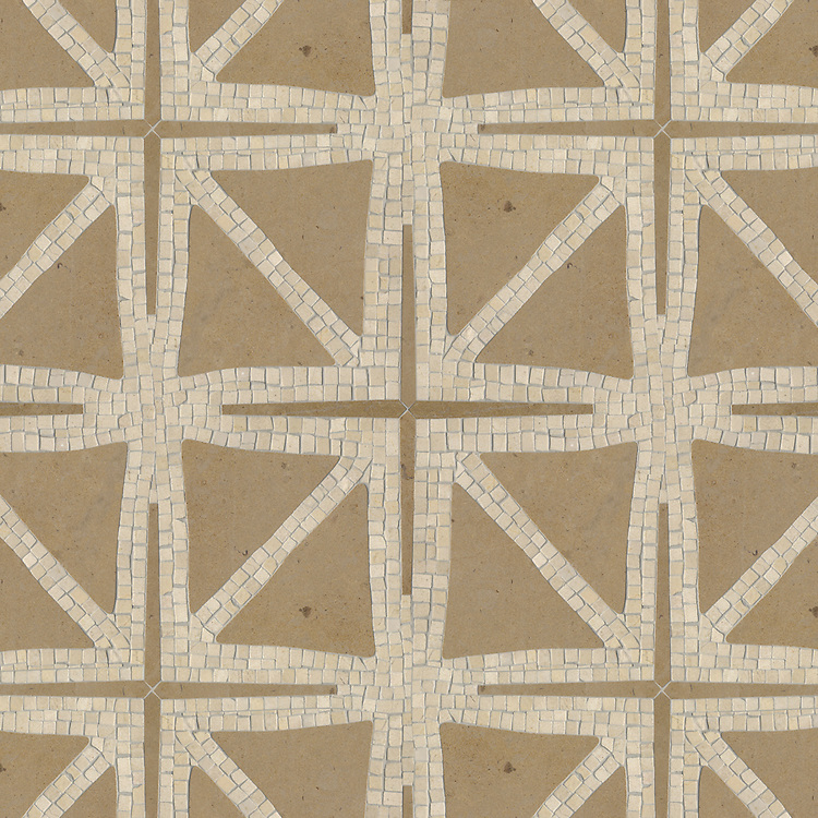 Indus, a waterjet and hand-cut mosaic, shown in honed Renaissance Bronze and tumbled Crema Marfil.<br /> Designed by James Duncan for New Ravenna Mosaics