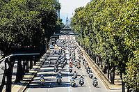 ATENCAO EDITOR: FOTO EMBARGADA PARA VEICULOS INTERNACIONAIS. - RIO DE JANEIRO, RJ,16 DE SETEMBRO 2012 - RIO HARLEY DAYS 2012- Motociclistas percorrem as ruas do Rio de Janeiro em comboio no Harley Days 2012, sucesso na Espanha, Franca, Alemanha e Croacia, o evento desembarca para sua segunda edicao no Brasil, na avenida Presidente Vargas no centro do Rio de Janeiro.(FOTO: MARCELO FONSECA / BRAZIL PHOTO PRESS).