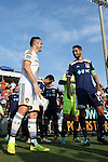 24 June 2014: Los Angeles captain Robbie Keane (IRL) (left) and Carolina captain Jun Marques Davidson (JPN) (right) exchange greetings before the game. The Carolina RailHawks of the North American Soccer League played the Los Angeles Galaxy of Major League Soccer at Koka Booth Stadium at WakeMed Soccer Park in Cary, North Carolina in the fifth round of the 2014 Lamar Hunt U.S. Open Cup soccer tournament. The RailHawks won the game 1-0 in overtime.