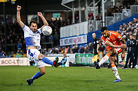 Blackpool's Curtis Tilt crosses under pressure from  Bristol Rovers' Edward Upson <br /> <br /> Photographer Andrew Kearns/CameraSport<br /> <br /> The EFL Sky Bet League Two - Bristol Rovers v Blackpool - Saturday 2nd March 2019 - Memorial Stadium - Bristol<br /> <br /> World Copyright © 2019 CameraSport. All rights reserved. 43 Linden Ave. Countesthorpe. Leicester. England. LE8 5PG - Tel: +44 (0) 116 277 4147 - admin@camerasport.com - www.camerasport.com