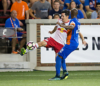 Cincinnati, OH - Tuesday August 15, 2017:  Sacha Kljestan, Justin Hoyte during a 2017 U.S. Open Cup game between FC Cincinnati vs New York Red Bulls at Nippert Stadium.