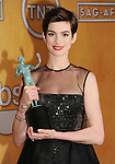 LOS ANGELES, CA - JANUARY 27: Anne Hathaway poses at the 19th Annual Screen Actors Guild Awards at The Shrine Auditorium on January 27, 2013 in Los Angeles, California.