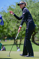 Jessica Korda (USA) tosses her ball to her caddie after her putt on 1 during round 4 of  the Volunteers of America Texas Shootout Presented by JTBC, at the Las Colinas Country Club in Irving, Texas, USA. 4/30/2017.<br /> Picture: Golffile | Ken Murray<br /> <br /> <br /> All photo usage must carry mandatory copyright credit (&copy; Golffile | Ken Murray)