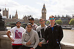 Beaudein Waaka (L), Rieko Ioane,  Dylan Collier, Ambrose Curtis, Sam Dickson. London Eye. 13 May 2015. England. Photo: Marc Weakley