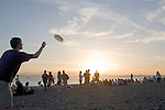 Golden Gardens park, Seattle, Ballard, Puget Sound, Washington State, USA, Pacific Northwest, Summertime crowd at sunset,