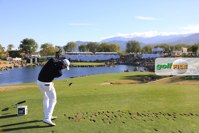 Camilo Villegas (COL) tees off the par3 17th tee during Saturday's Round 3 of the 2017 CareerBuilder Challenge held at PGA West, La Quinta, Palm Springs, California, USA.<br /> 21st January 2017.<br /> Picture: Eoin Clarke | Golffile<br /> <br /> <br /> All photos usage must carry mandatory copyright credit (&copy; Golffile | Eoin Clarke)