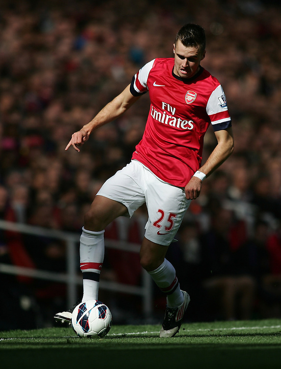 Arsenal's Carl Jenkinson in action during todays match  ..Football - Barclays Premiership - Arsenal v Chelsea - Saturday 29th September 2012 - Emirates Stadium - London..