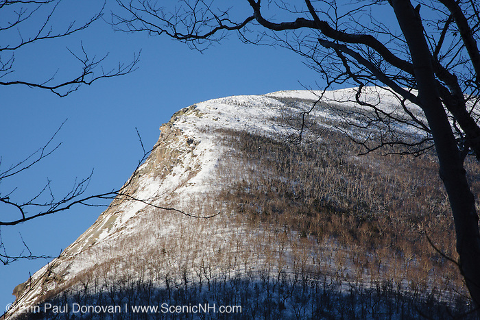 The side of Cannon Mountain where the Old Man of the Mountain profile used to be. This view is from along the Greenleaf Trail during the winter months in the White Mountains, New Hampshire USA. The old man profile collapsed on May 3, 2003