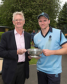 Cricket Scotland - T20 Blitz - Cricket Scotland Chairman Tony Brian presents Western Warriors captain Richie Berrington with the T20Blitz Trophy - picture by Donald MacLeod - 03.09.08.2017 - 07702 319 738 - clanmacleod@btinternet.com - www.donald-macleod.com