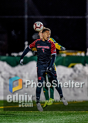 13 November 2019: University of Hartford Hawk Forward Nyrik Antoine, a Junior from Baldwin, NY, in action against the University of Vermont Catamounts at Virtue Field in Burlington, Vermont. The Hawks defeated the Catamounts 3-2 in sudden death overtime of the Division 1 Men's Soccer America East matchup. Mandatory Credit: Ed Wolfstein Photo *** RAW (NEF) Image File Available ***