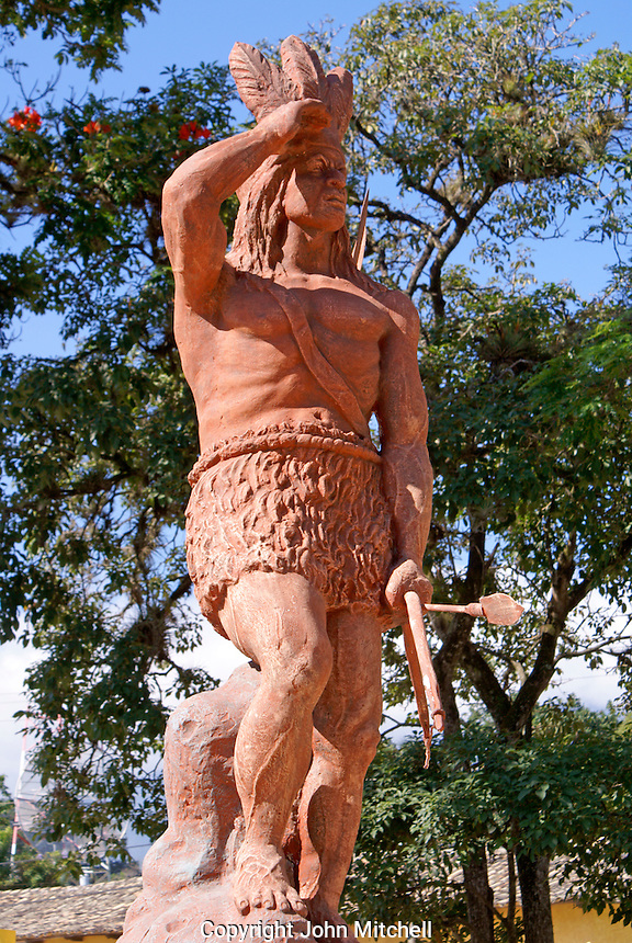 Statue of Lenca Indian leader and Honduran national hero Lempira in the Spanish colonial town of Gracias, Lempira, Honduras...