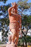 Statue of Lenca Indian leader and Honduran national hero Lempira in the Spanish colonial town of Gracias, Lempira, Honduras...