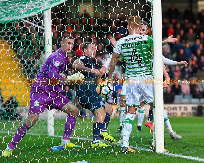 The ball goes over the Yeovil Town goal line but was dis-allowed during Yeovil Town vs Southend United, Emirates FA Cup Football at Huish Park on 4th November 2017