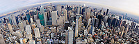 US, New York City. View from the Empire State Building observation deck. Stitched panorama.