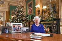 24.12.2019 - Queen Elizabeth II records her annual Christmas broadcast in Windsor Castle, Berkshire. Photo Credit: ALPR/AdMedia