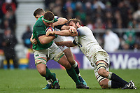CJ Stander of Ireland is double-tackled. Natwest 6 Nations match between England and Ireland on March 17, 2018 at Twickenham Stadium in London, England. Photo by: Patrick Khachfe / Onside Images