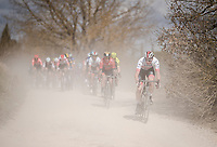 Vegard Stake Laengen (NOR/UAE-Team Emirates) charging from the front on the white dust roads of Tuscany<br /> <br /> <br /> <br /> 13th Strade Bianche 2019 (1.UWT)<br /> One day race from Siena to Siena (184km)<br /> <br /> ©kramon